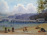 Clareville Beach . Watercolour $400 framed Painting size 297x420 mm (2)