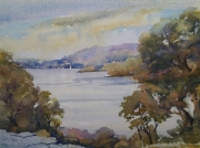 Narrabeen Lake . Watercolour $400 framed Painting size 297x420 mm