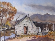 Old Barn Arrowtown NZ . watercolour-$400 framed Painting size 297x420 mm