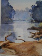 The Beach Macquarie River Dubbo . Watercolour $300 Framed Painting size 210x297mm