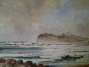 Windy Day Long Reef . Watercolour $300 framed Painting Size 210x297 mm