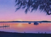 Evening Sunset, Lake Macquarie - Acrylic on canvas, 76cm x 60cm, SOLD