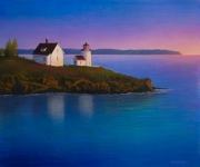 Lighthouse, Maine, USA (altered image)- Acrylic on canvas, 90cm x 76cm, $3500