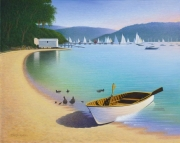 Timber Dinghey, Clareville Beach - Acrylic on canvas, 76cm x 90cm, SOLD