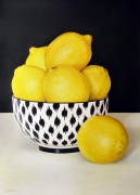 Lemons in Black & White Bowl Acrylic on Arches Paper Framed Size: 120cm x101cm SOLD