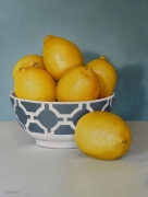 Lemons in Gray& White Bowl Acrylic on Arches Paper Framed Size: 102cm x84cm SOLD