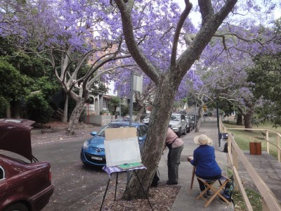 Plein Air Group with Kirribilli Jacarandas